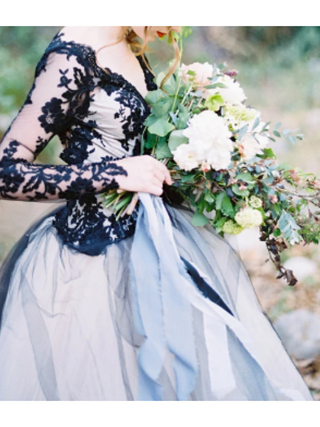 Ball Gown Wedding Dresses V Neck Sweep / Brush Train Polyester Long Sleeve Formal Plus Size Black Modern with Draping Appliques 2020