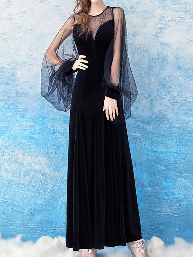 Sheath / Column Elegant Black Party Wear Formal Evening Dress Jewel Neck Long Sleeve Floor Length Lace Velvet with Pattern / Print 2020