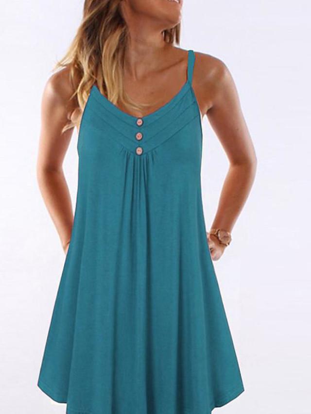 Women's Mini Sheath Dress - Sleeveless Solid Color Strap Wine Black Blue Purple Red Army Green Royal Blue Light Blue S M L XL XXL XXXL XXXXL XXXXXL
