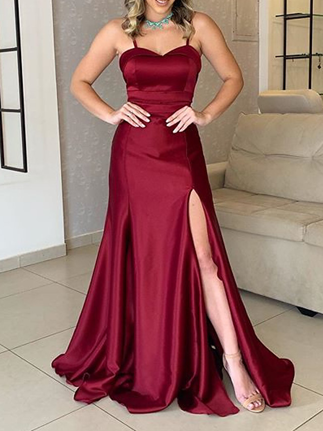 A-Line Sexy Red Wedding Guest Formal Evening Dress Sweetheart Neckline Sleeveless Sweep / Brush Train Charmeuse with Split 2020