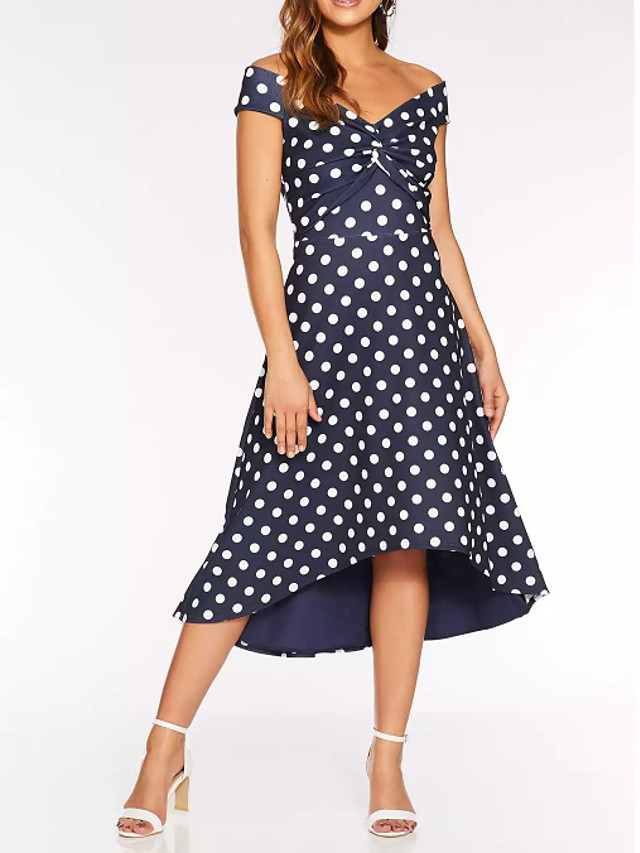 A-Line Blue Black Holiday Cocktail Party Dress Off Shoulder Short Sleeve Tea Length Polyester with Pattern / Print 2020