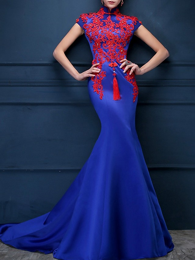 Mermaid / Trumpet Blue Red Engagement Formal Evening Dress High Neck Short Sleeve Sweep / Brush Train Polyester with Appliques 2020