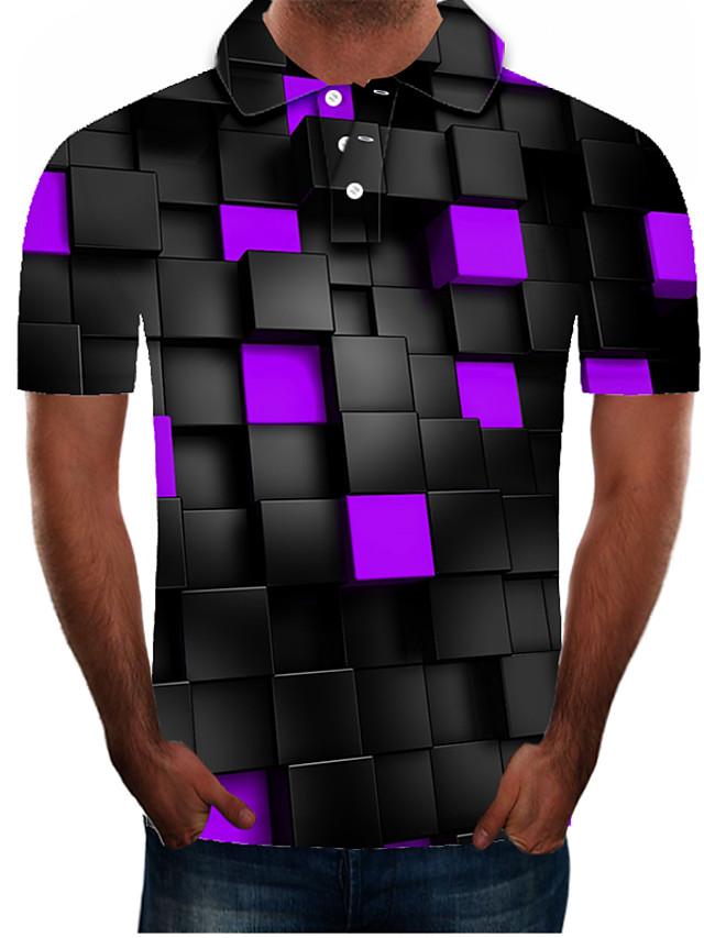 Men's Golf Shirt Graphic Plus Size Short Sleeve Daily Slim Tops Streetwear Exaggerated Shirt Collar Purple