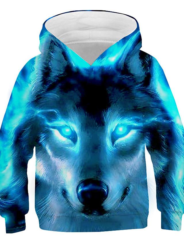 Kids Boys' Hoodie & Sweatshirt Long Sleeve Wolf Fantastic Beasts Graphic 3D Animal Print Children Easter Tops Active Cool Light Blue Navy Black 3-13 Years