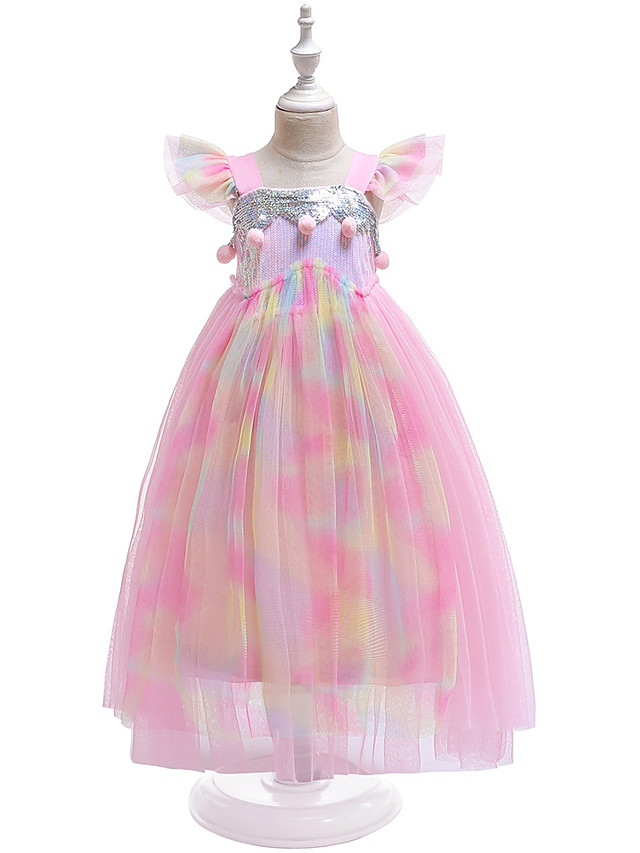 Kids Girls' Active Boho Unicorn Color Block Rainbow Sequins Mesh Lace Trims Sleeveless Midi Dress Blushing Pink