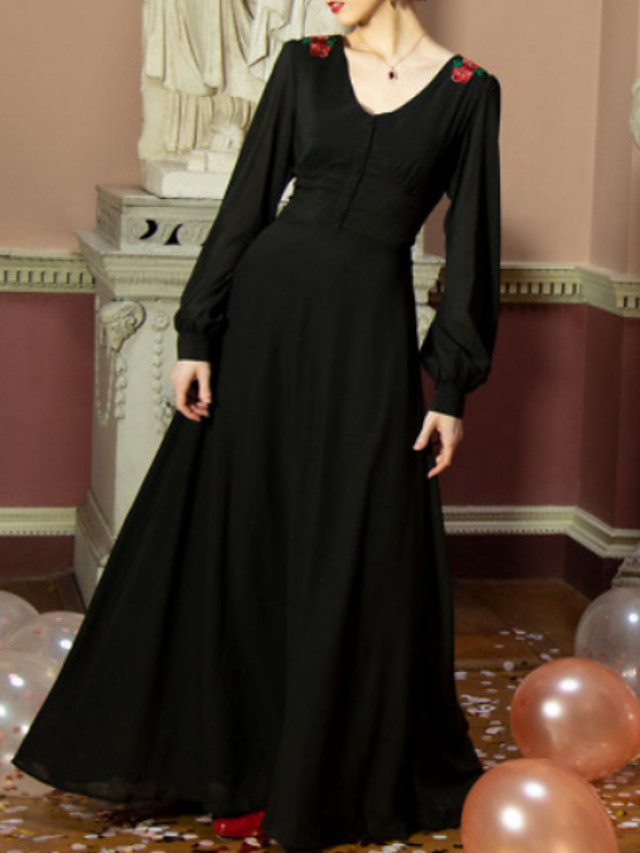 A-Line Black Retro Holiday Prom Dress V Neck Long Sleeve Floor Length Chiffon with Draping Appliques 2020