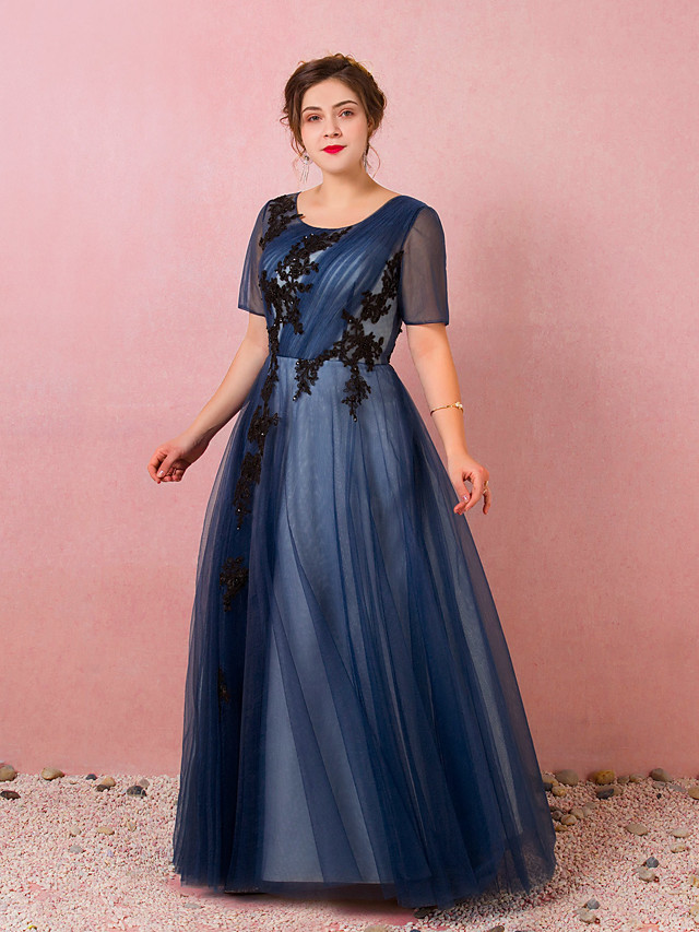 A-Line Plus Size Blue Prom Formal Evening Dress Jewel Neck Short Sleeve Floor Length Satin Tulle with Pleats Appliques 2020 / Illusion Sleeve