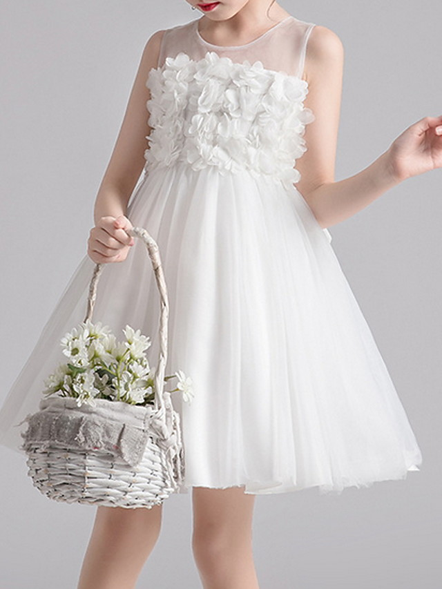 Kids Girls' Solid Colored Dress White