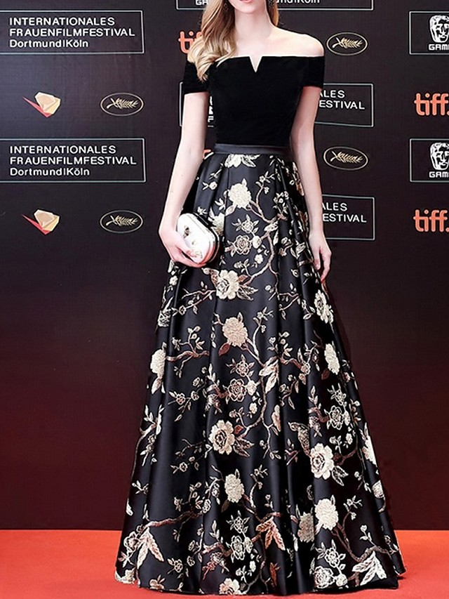 A-Line Off Shoulder Floor Length Polyester Floral / Black Prom / Formal Evening Dress with Pattern / Print 2020