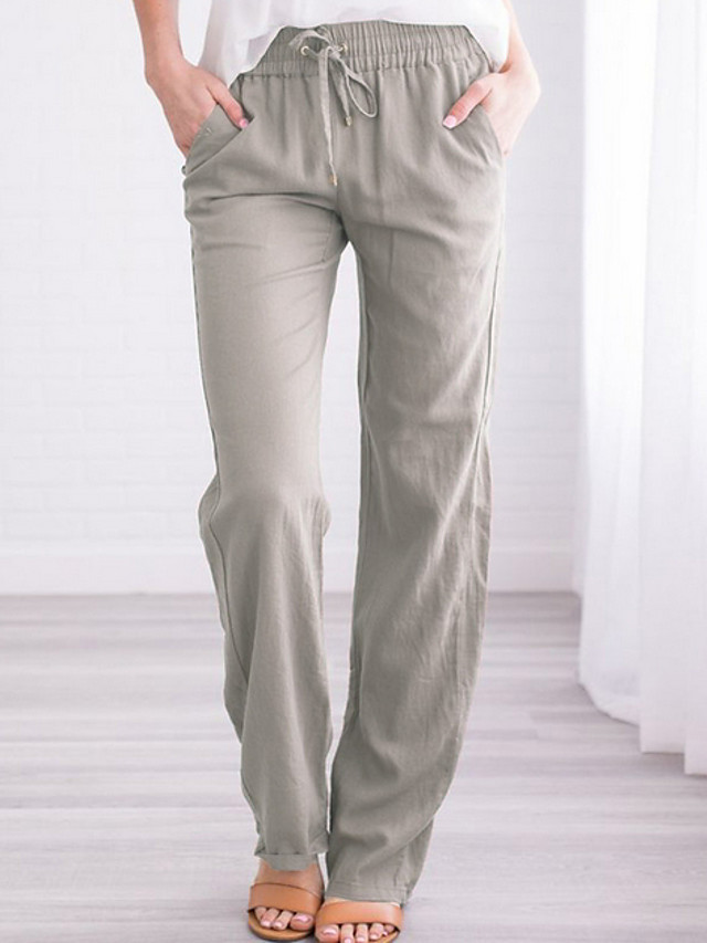 Women's Basic Loose Cotton Chinos Pants - Solid Colored Wine Black Blue S / M / L