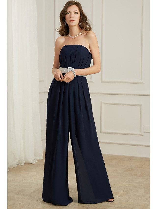Jumpsuits Sexy Blue Wedding Guest Formal Evening Dress Strapless Sleeveless Floor Length Chiffon with Sash / Ribbon Pleats 2020
