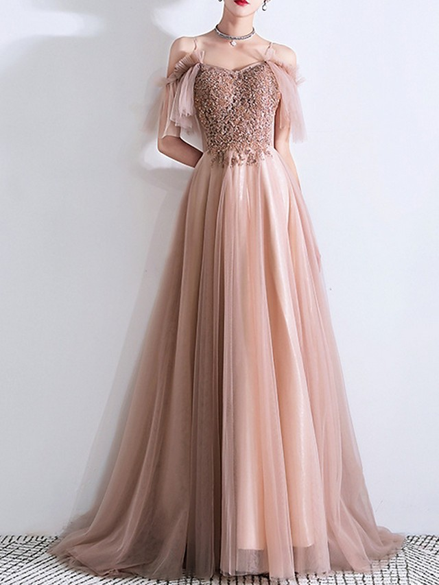 A-Line Sparkle Pink Prom Formal Evening Dress Off Shoulder Short Sleeve Sweep / Brush Train Tulle with Beading Sequin 2020