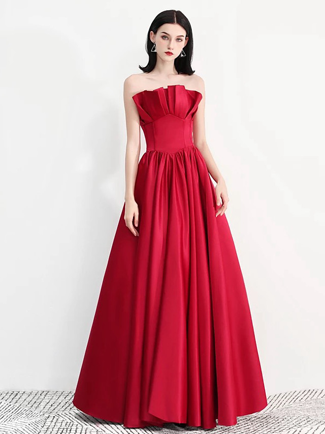 A-Line Vintage Red Prom Formal Evening Dress Strapless Sleeveless Floor Length Satin with Pleats Ruffles 2020