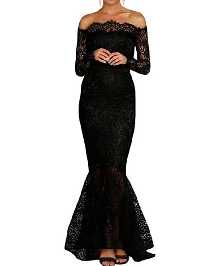 Mermaid / Trumpet Wedding Dresses Off Shoulder Floor Length Polyester Long Sleeve Formal Plus Size Black with Draping 2020