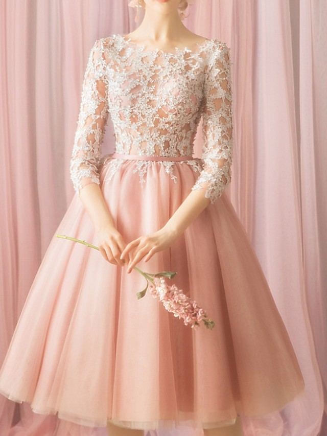 Ball Gown Floral Pink Cocktail Party Prom Dress Jewel Neck 3/4 Length Sleeve Knee Length Lace with Appliques 2020