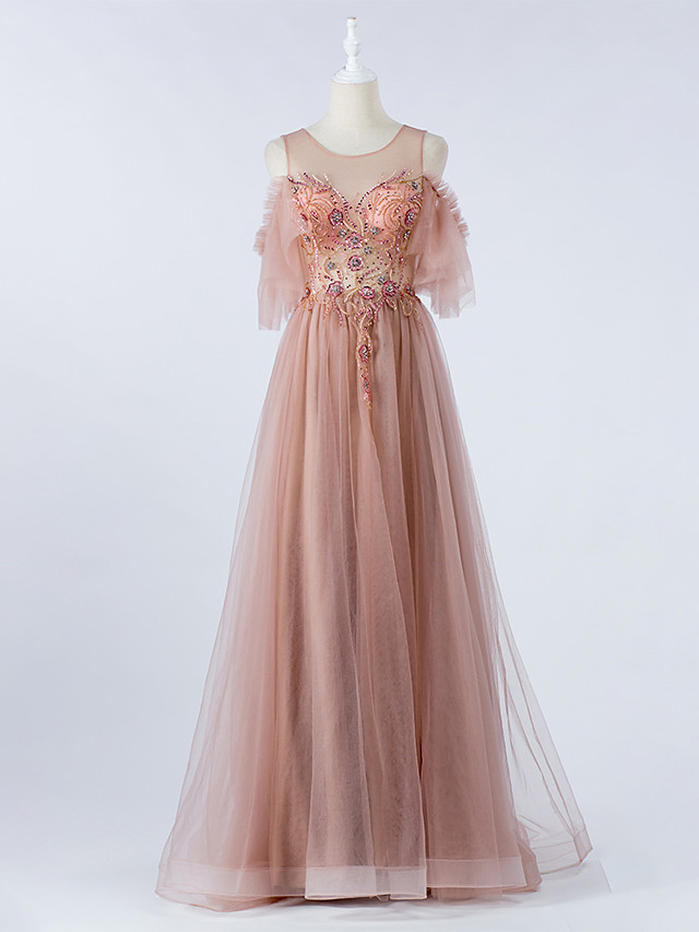 A-Line Luxurious Pink Prom Formal Evening Dress Illusion Neck Short Sleeve Floor Length Tulle with Crystals Beading 2020