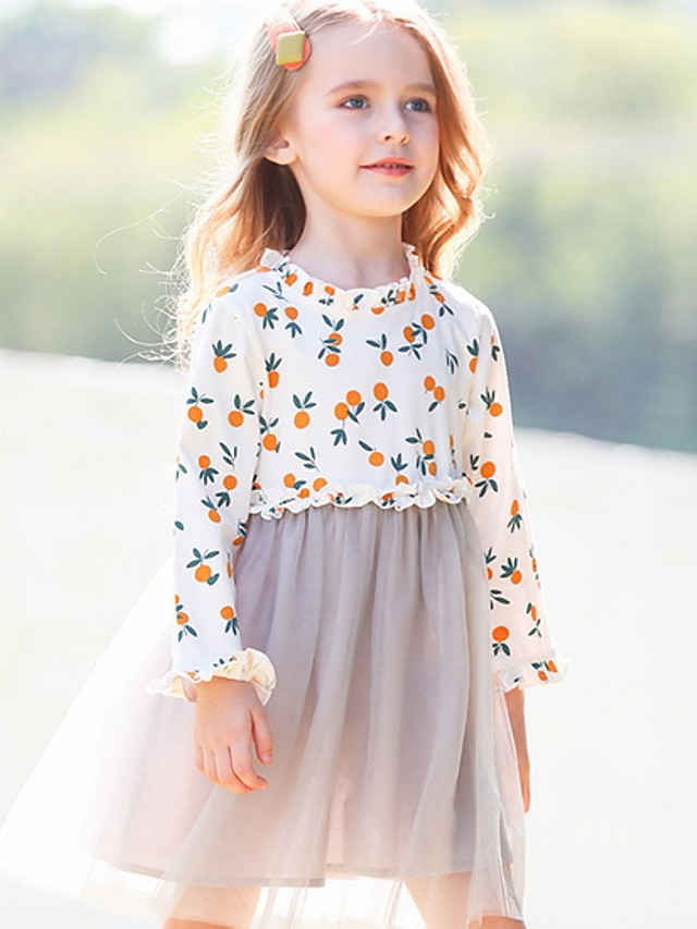 Toddler Girls' Color Block Fruit Dress Gray