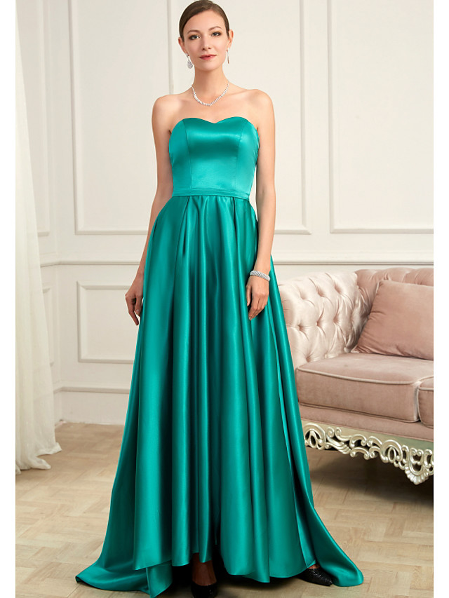 A-Line Minimalist Turquoise / Teal Prom Formal Evening Dress Strapless Sleeveless Sweep / Brush Train Charmeuse with Pleats 2020