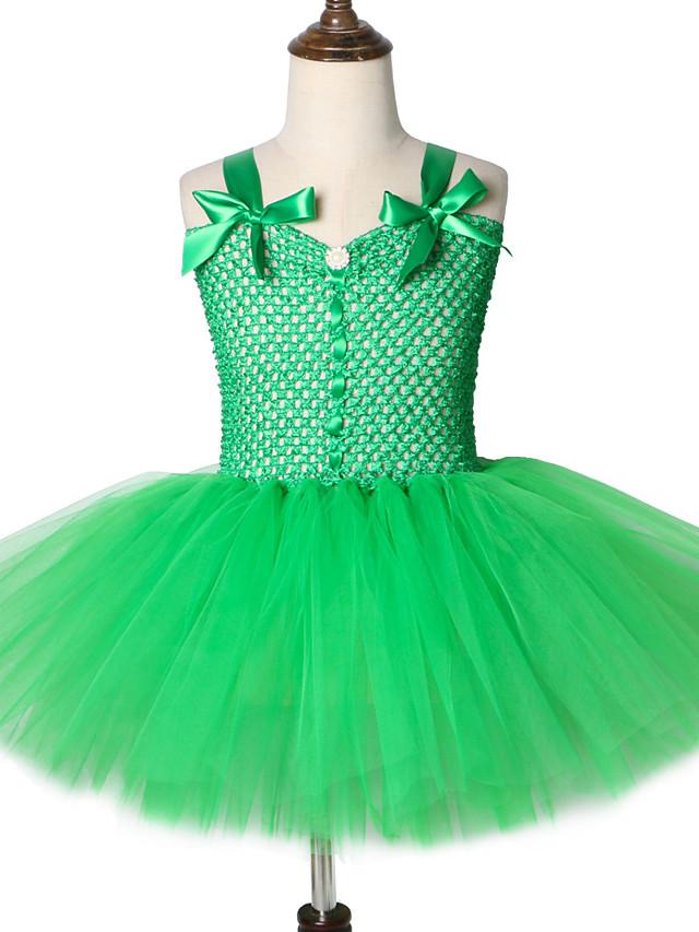Green Forest Genie Costume for Girls Tutu Dress Kids Knee Length Fairy Garden Cosplay Costume