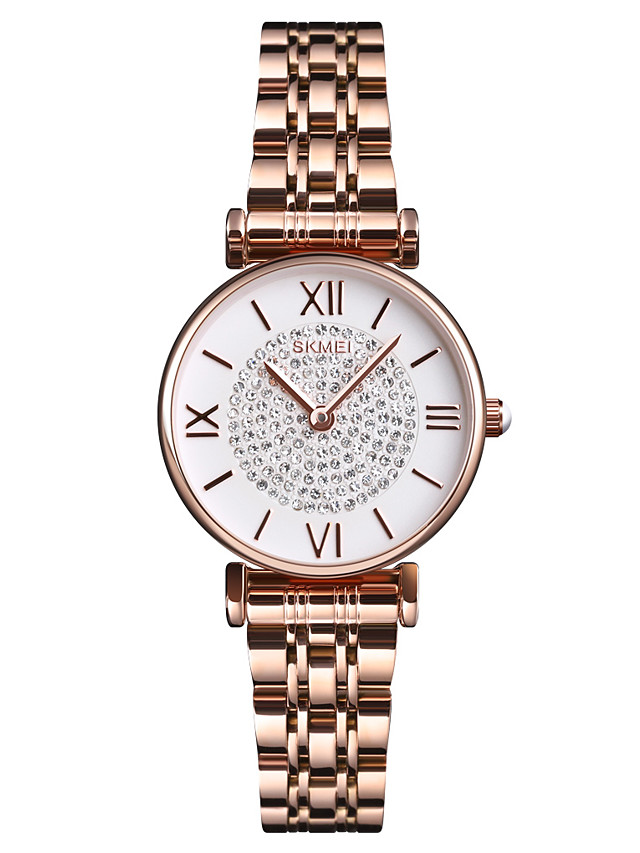 SKMEI Ladies Quartz Watches Quartz Formal Style Modern Style Casual Water Resistant / Waterproof Stainless Steel Black / Silver / Rose Gold Analog - Rose Gold Black Silver One Year Battery Life