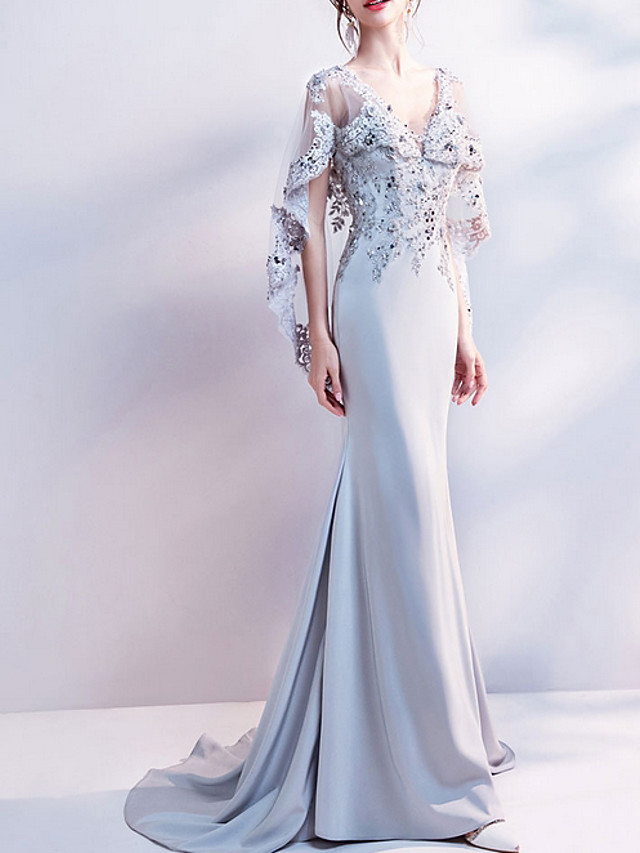 Mermaid / Trumpet Luxurious Grey Engagement Formal Evening Dress V Neck Sleeveless Sweep / Brush Train Polyester with Sequin Appliques 2020