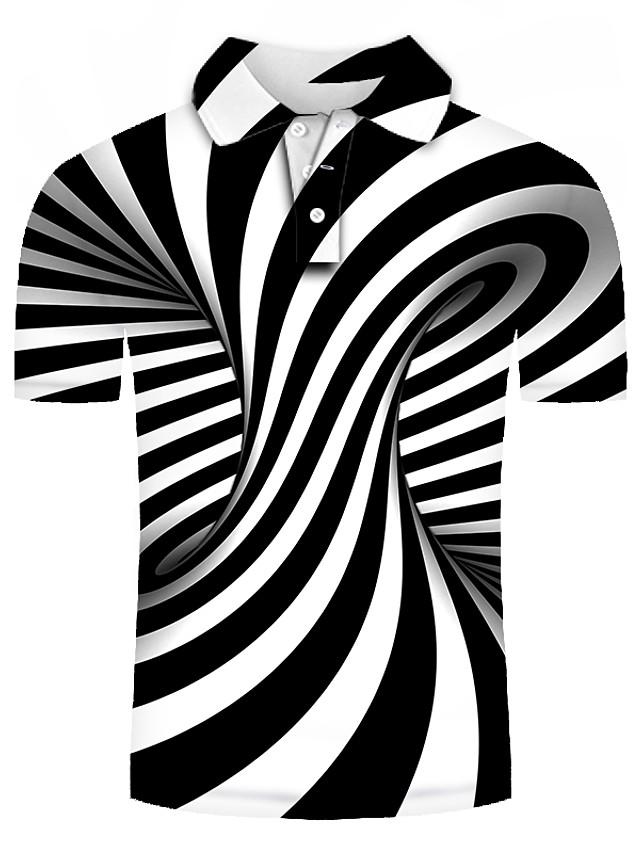 Herren Golfhemd Tennishemd Grafik Übergrössen Kurzarm Alltag Schlank Oberteile Grundlegend Übertrieben Hemdkragen Schwarz