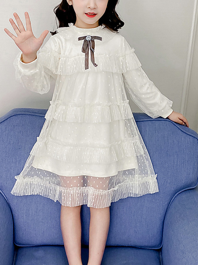 Kids Girls' Cute White Jacquard Solid Colored Mesh Lace up Long Sleeve Midi Dress White