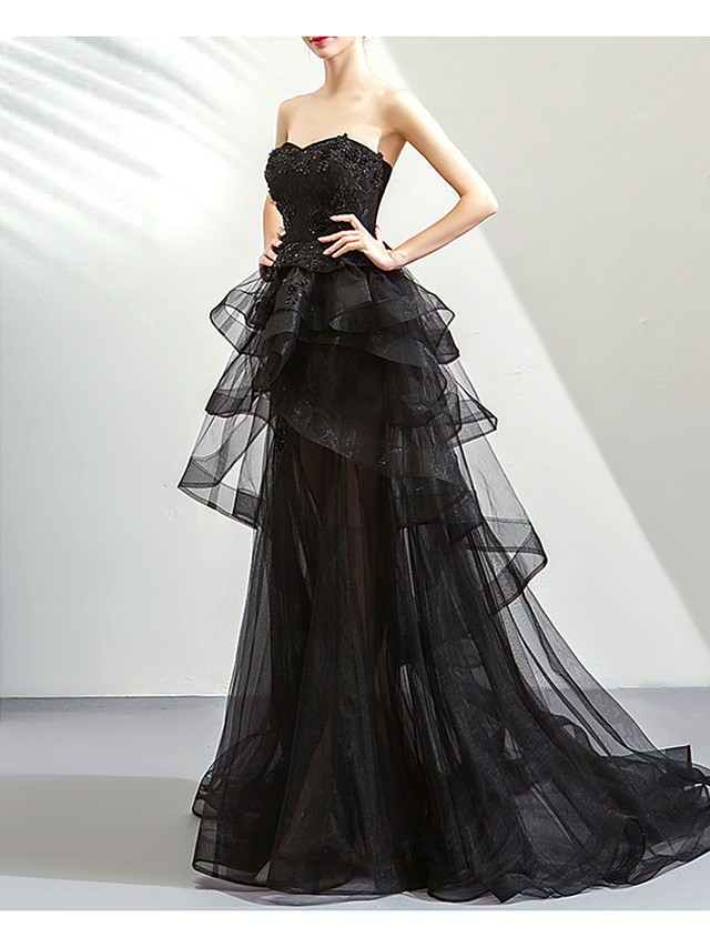 Ball Gown Hot Black Prom Formal Evening Dress Strapless Sleeveless Sweep / Brush Train Lace Tulle with Tier 2020