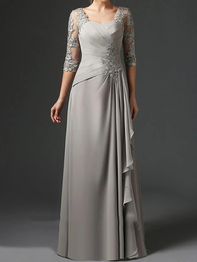 Sheath / Column Mother of the Bride Dress Elegant Square Neck Floor Length Chiffon Lace Half Sleeve with Ruching 2020