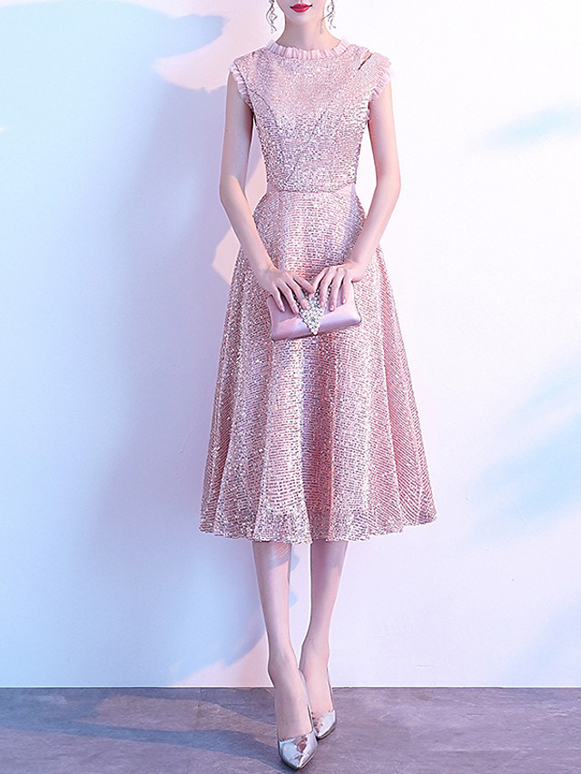 A-Line Glittering Pink Homecoming Cocktail Party Dress Jewel Neck Sleeveless Knee Length Sequined with Sequin 2020
