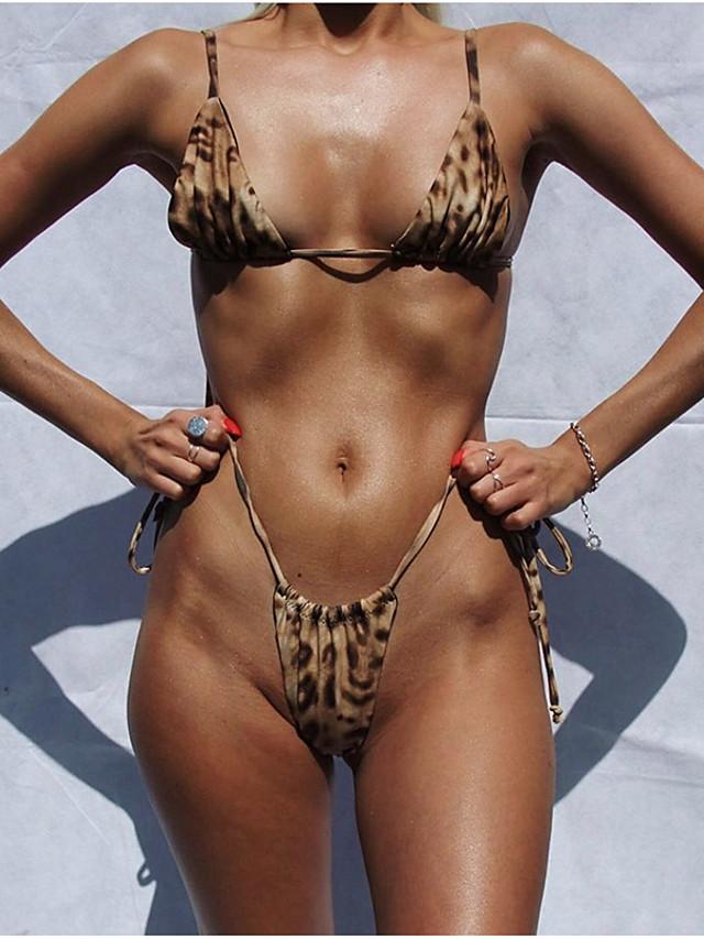 Women's Basic Brown Halter High Waist Tankini Swimwear Swimsuit - Leopard S M L Brown