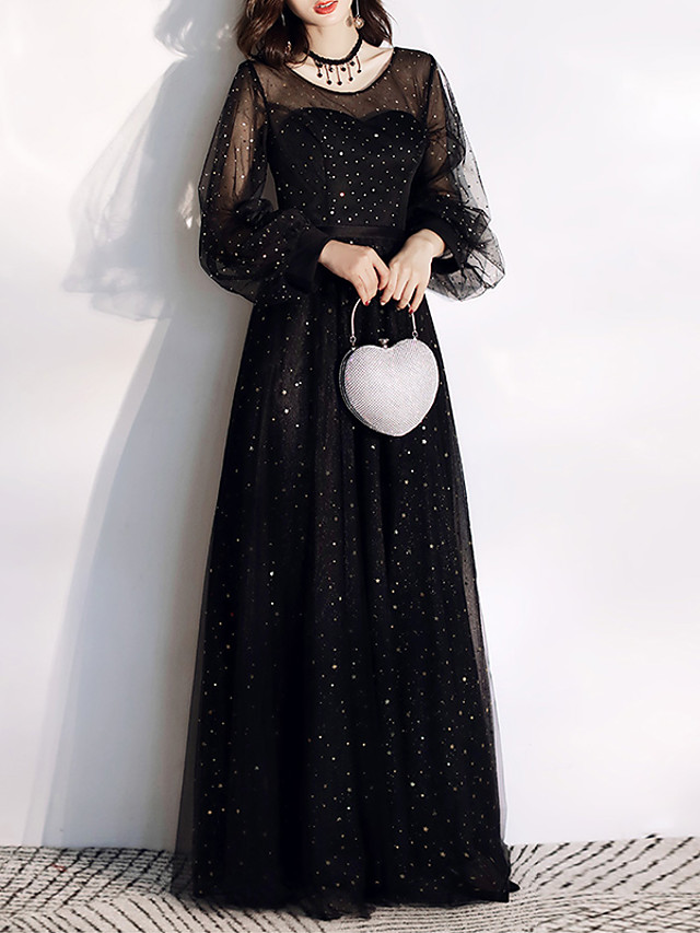 A-Line Glittering Black Wedding Guest Formal Evening Dress Jewel Neck Long Sleeve Floor Length Tulle with Sequin 2020 / Illusion Sleeve