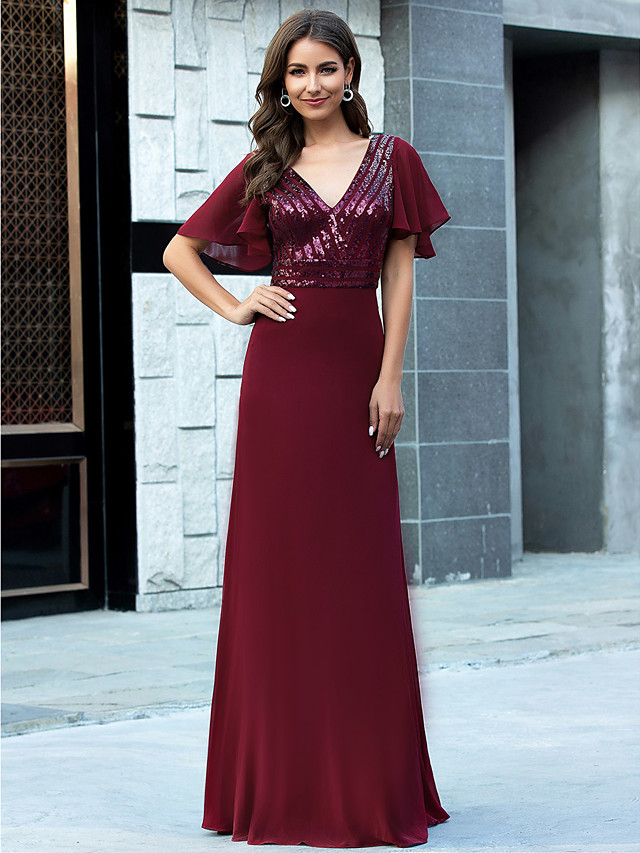 Sheath / Column Glittering Red Wedding Guest Formal Evening Dress V Neck Short Sleeve Floor Length Chiffon with Sequin 2020