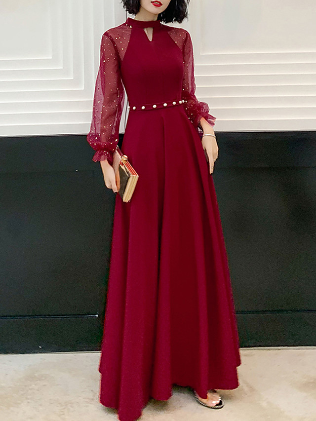A-Line Hot Red Prom Formal Evening Dress Jewel Neck Long Sleeve Floor Length Spandex with Beading Sequin 2020