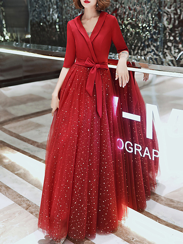 A-Line Glittering Red Prom Formal Evening Dress V Neck Half Sleeve Floor Length Tulle Spandex with Sash / Ribbon 2020