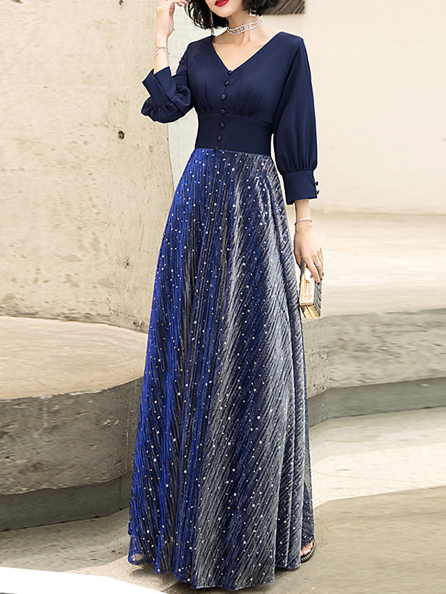A-Line Glittering Blue Prom Formal Evening Dress V Neck Long Sleeve Floor Length Spandex with Sash / Ribbon Buttons 2020