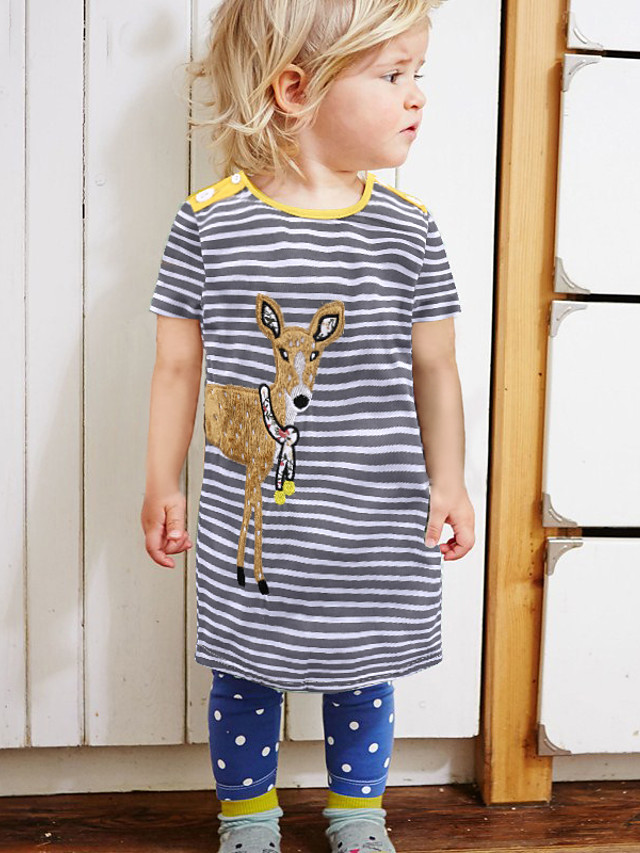 Kids Toddler Girls' Cute Street chic Striped Cartoon Print Short Sleeve Above Knee Dress Yellow