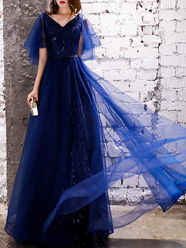 A-Line Glittering Blue Prom Formal Evening Dress V Neck Short Sleeve Floor Length Polyester with Sequin 2020