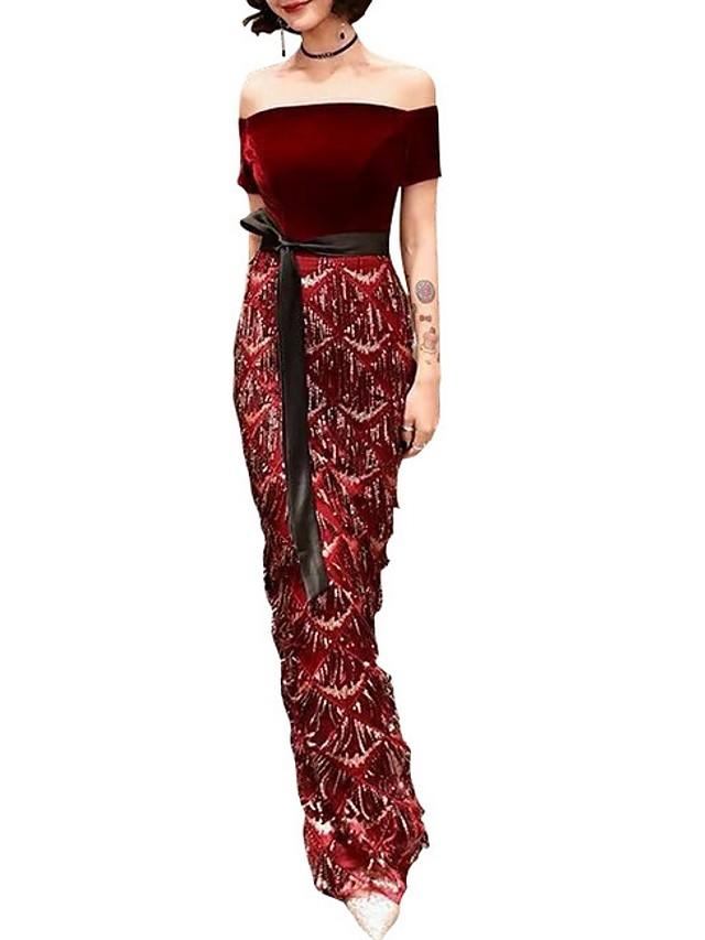 Sheath / Column Hot Red Wedding Guest Formal Evening Dress Off Shoulder Short Sleeve Floor Length Polyester with Sequin 2020