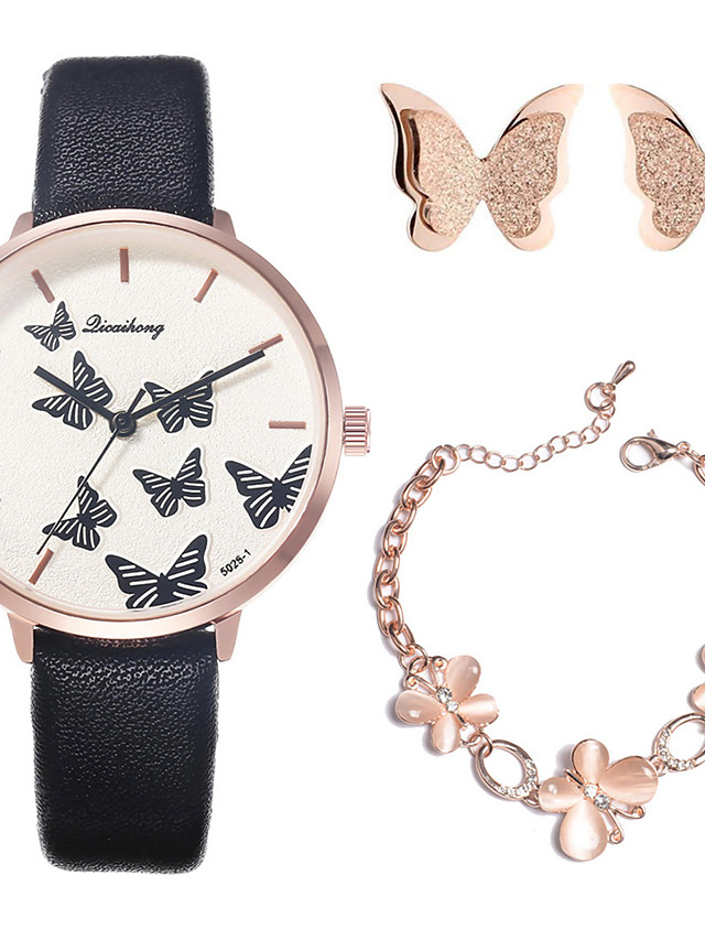 Women's Quartz Watches New Arrival Fashion Black White Brown PU Leather Chinese Quartz Blushing Pink Green White Chronograph Cute New Design 3 Pieces Analog One Year Battery Life