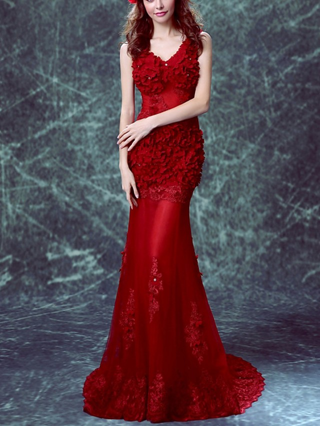 Mermaid / Trumpet Floral Red Engagement Formal Evening Dress V Neck Sleeveless Sweep / Brush Train Polyester with Appliques 2020