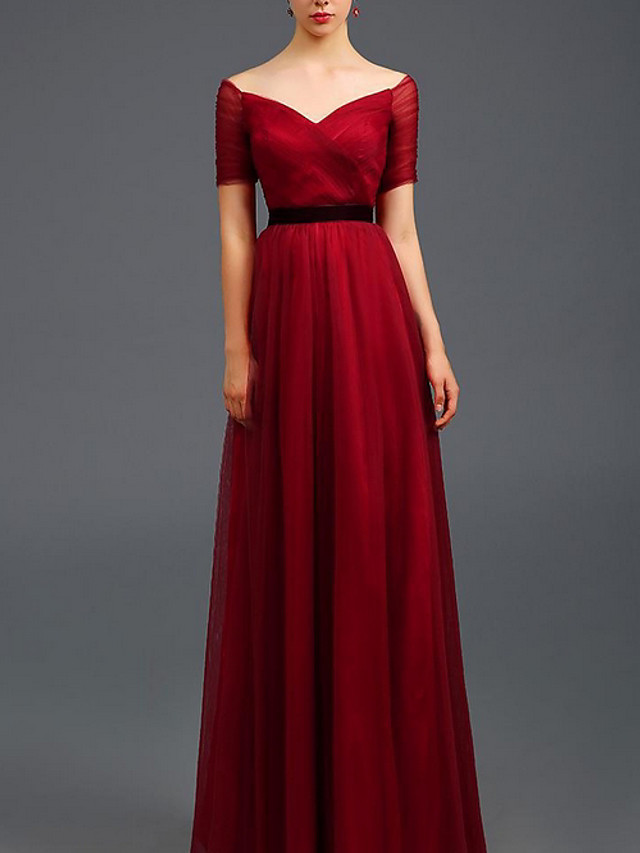 A-Line Blue Red Prom Formal Evening Dress Off Shoulder Short Sleeve Floor Length Tulle with Pleats Ruched 2020