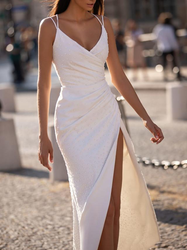 Sheath / Column Wedding Dresses V Neck Floor Length Polyester Sleeveless Beach Plus Size with Beading Draping Split Front 2021