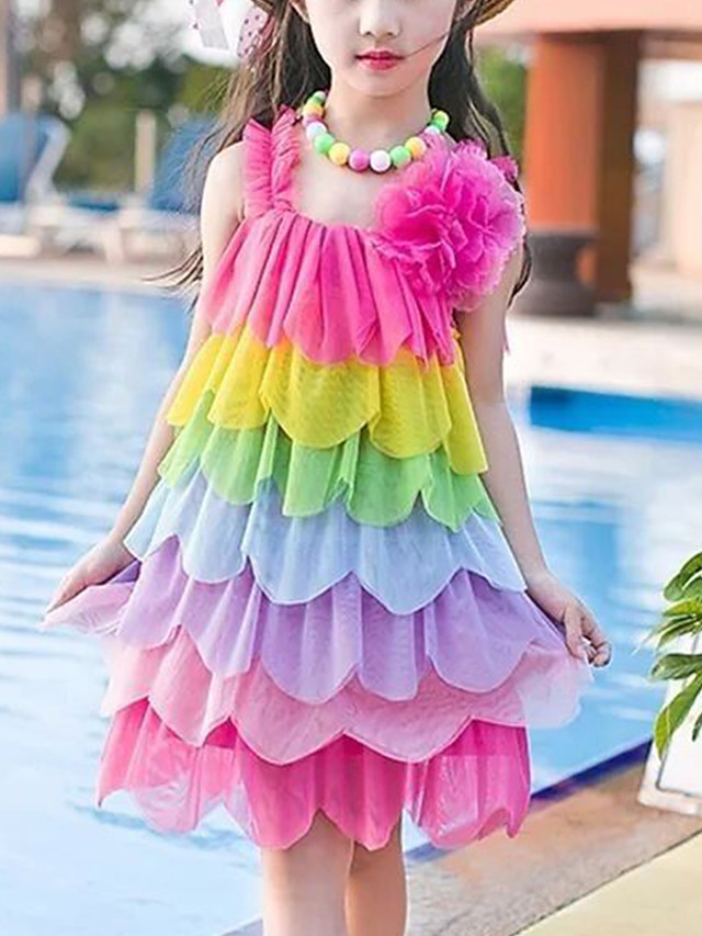 Kids Girls' Cute Red Color Block Rainbow Backless Layered Ruched Sleeveless Above Knee Dress Fuchsia