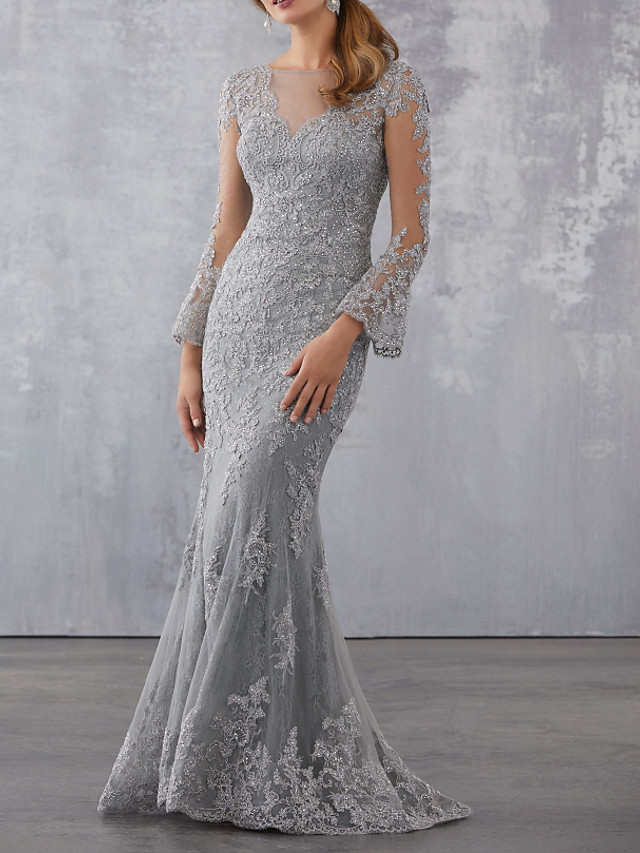 Mermaid / Trumpet Elegant Grey Wedding Guest Formal Evening Dress Illusion Neck 3/4 Length Sleeve Sweep / Brush Train Tulle with Beading Appliques 2020