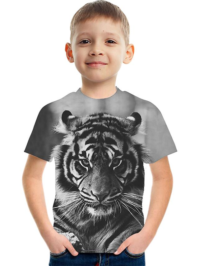 Kids Boys' Basic Street chic Color Block 3D Print Short Sleeve Tee Gray