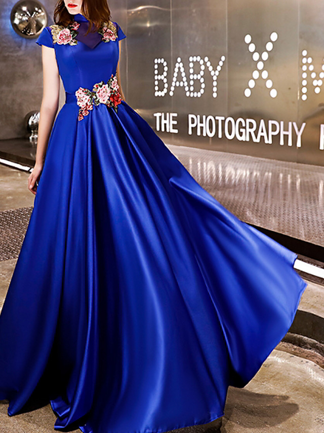 A-Line Chinese Style Blue Engagement Prom Dress High Neck Short Sleeve Floor Length Polyester with Embroidery Appliques 2020