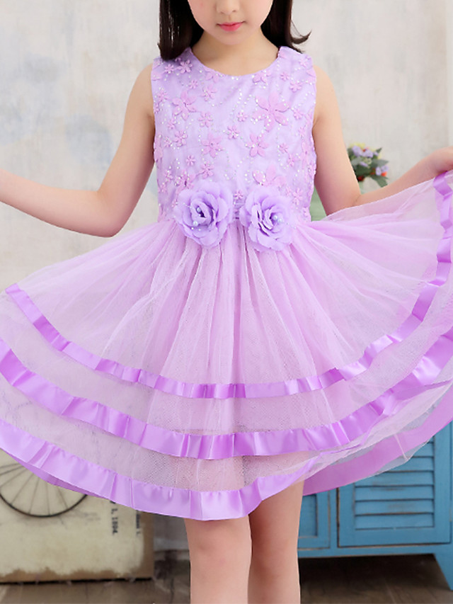 Kids Girls' Cute Street chic Blue Floral Sequins Embroidered Sleeveless Above Knee Dress Purple