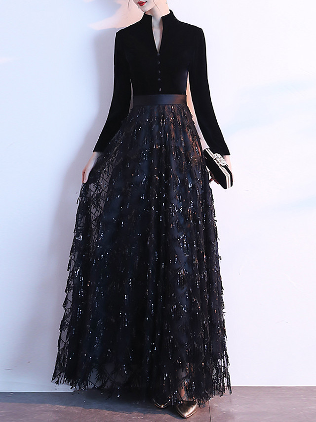 A-Line Glittering Black Prom Formal Evening Dress High Neck Long Sleeve Floor Length Sequined Velvet with Buttons Sequin 2020
