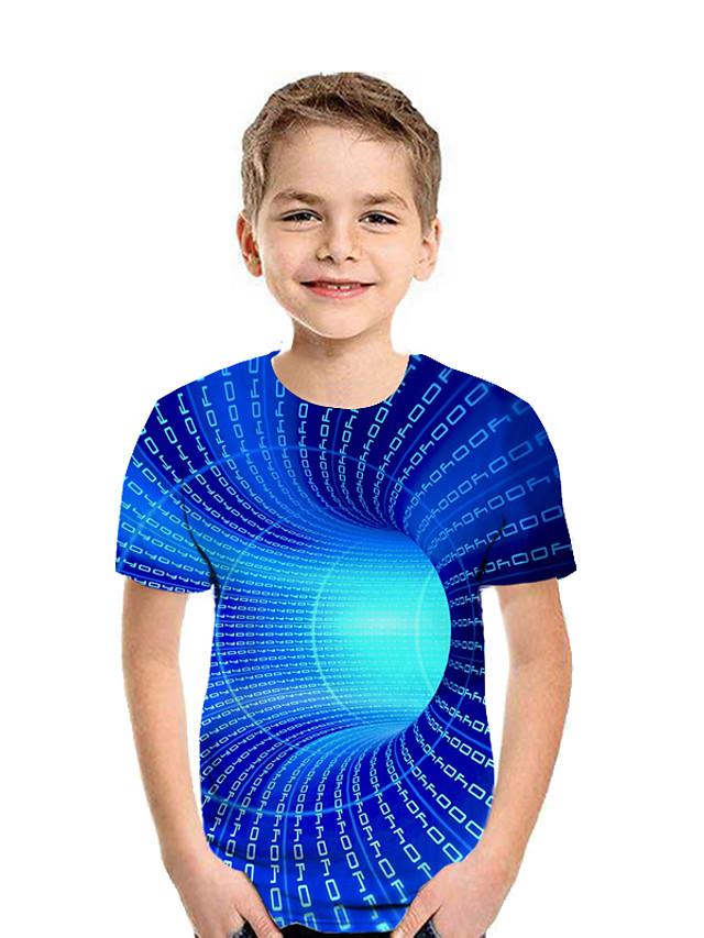 Kids Boys' Active Street chic Geometric 3D Patchwork Print Short Sleeve Tee Rainbow